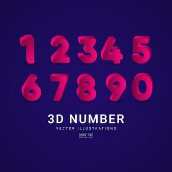 3 d number label template design illustration