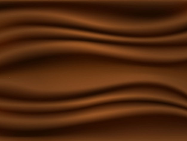 3 d realistic chocolate background, brown silk, vector illustration