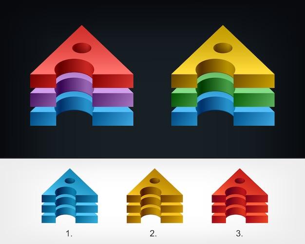 3d三角文字様式化されたテンプレートデザインのロゴ