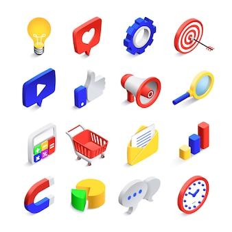 3 dソーシャルマーケティングのアイコン。等尺性web seoが好きな記号、ビジネスメールネットワーク、ウェブサイト検索ボタンベクトルアイコンコレクション