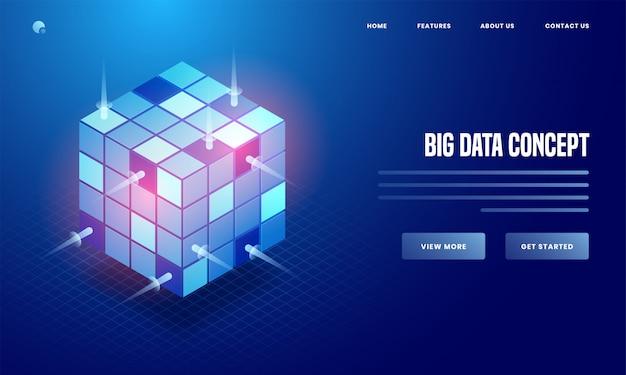 ビッグデータの概念に基づく青色の背景に光沢のあるデータキューブの3 dイラストレーションは、webポスターやランディングページのデザインに基づいています。