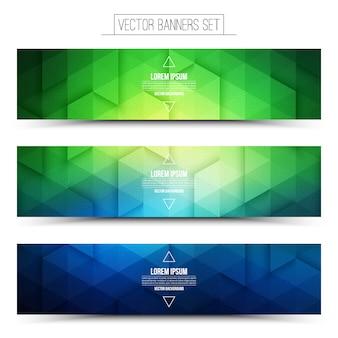 抽象的な3 dベクトルグリーンブルーwebバナーセット