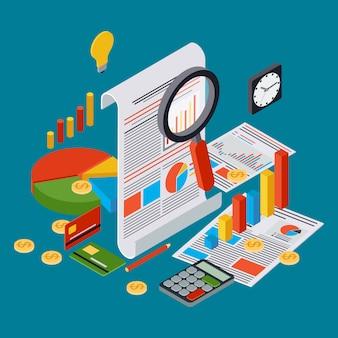事業報告、財務統計、管理、分析フラット3 d等角投影ベクトルの概念。現代のwebインフォグラフィックイラスト