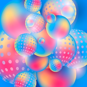 色とりどりの球を流れるカラフルな背景に3 dの構成を抽象化します。