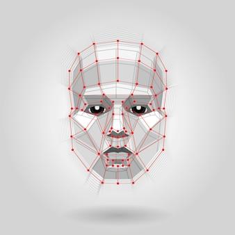 光の多角形の人間の顔。未来的な概念図形による抽象的な3 d顔。ベクター