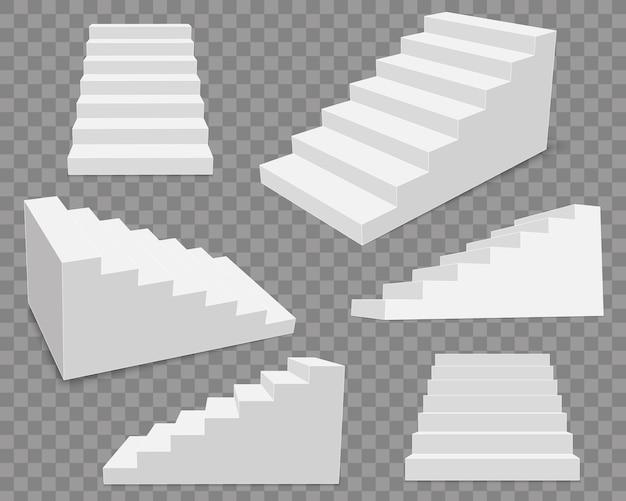 3 dインテリア階段、白いステージステップ。