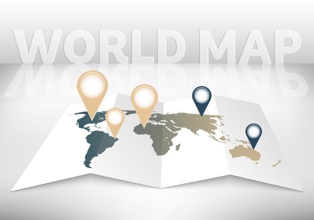 マーク付きの3 d世界地図。