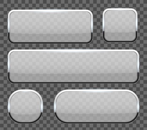 クロムフレームの背景を持つ3 dのガラスボタン。