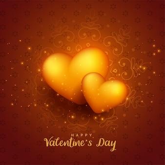 輝く黄金の3 dハートバレンタインデーの背景