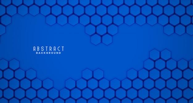 青い3 d六角形のきれいな背景