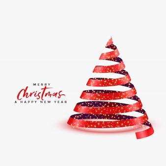 リボンスタイルの背景で作られた3 dのクリスマスツリー