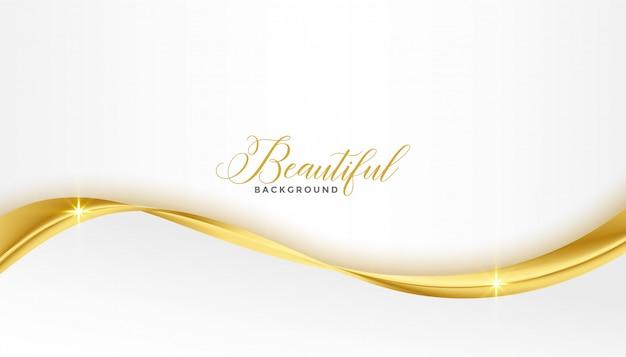 白い背景の上の美しい3 dの黄金の光沢のある波