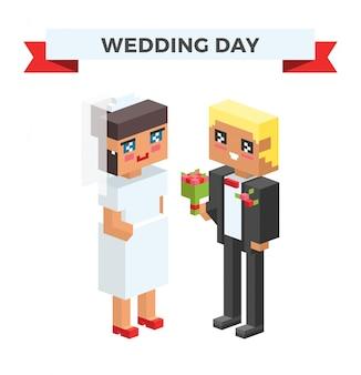 結婚式の3 dカップル漫画スタイルのベクトル図