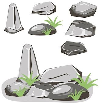 ロックストーンセット。石と岩のアイソメトリック3 dフラットスタイル