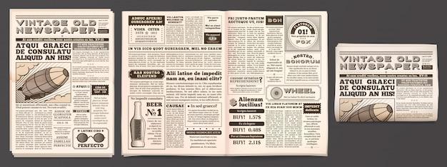 ビンテージ新聞モックアップ、レトロな新聞用紙ページ、タブロイド誌、古いニュース分離3 dテンプレート