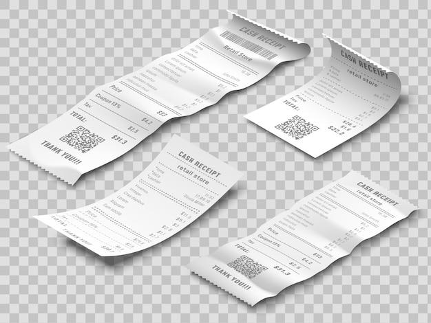 等尺性財務チェック。支払い小切手、サーマル印刷されたロール紙の領収書と支払い領収書分離された現実的な3 dベクトルを設定