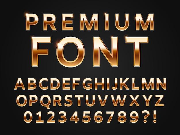 光沢のあるゴールドの書体、3 dプレミアムテキストデザインアイコンタイプの輝きのアルファベット文字コレクション