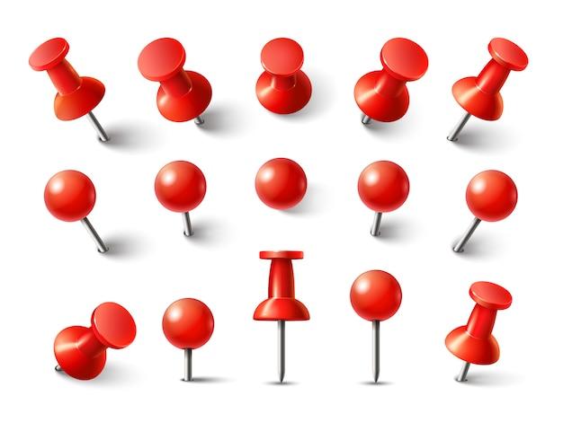赤い画鋲トップビュー。ノートアタッチコレクションの画鋲。分離されたさまざまな角度で固定されたリアルな3 dプッシュピン