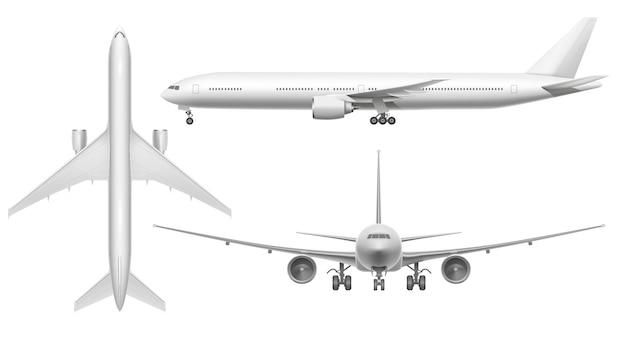 現実的な飛行機。滑走路に着陸または飛行する飛行機の平面図。分離された白い3 d飛行機