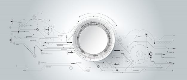 回路基板と線の円と3 dのデザイン紙。イラスト抽象的な現代未来的、工学、科学、技術