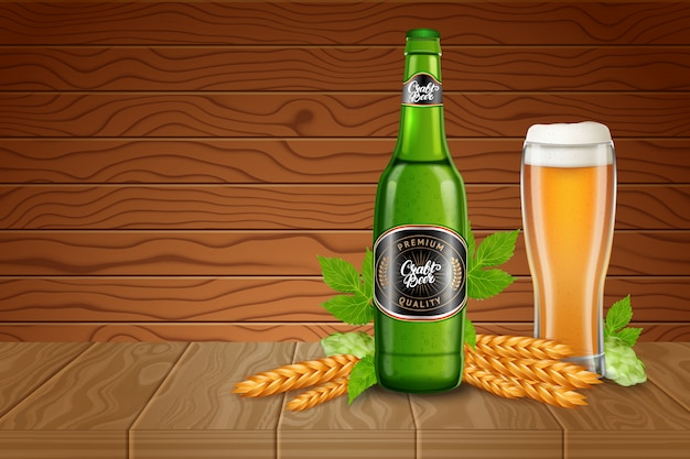 現実的な背の高いビールのグラス、麦芽、ホップ、木の机の上の古典的な軽いビールの瓶のポスター広告テンプレート。 3 dスタイルのイラスト。