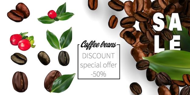 透明な背景に3 dベクトルコーヒー豆。