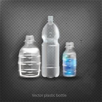 空のプラスチック製のボトル入り飲料飲料ミネラルベクトルプラスチックオブジェクト分離3 d空ラベルイラスト分離