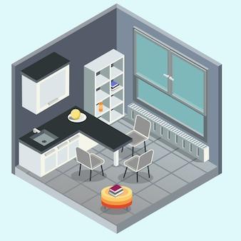 モダンなキッチンインテリア。概念的な3 d等角投影図フラットイラスト。分離ベクトル