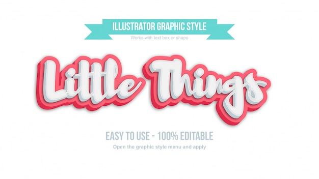 白とピンクの3 dかわいい書道編集可能なグラフィックスタイル