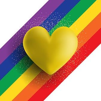 虹の縞模様の背景にゴールドの3 dハート