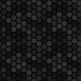 シームレスな暗い金属六角形3 dパターン背景