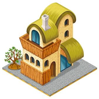 コンピューターゲームの3 dの等尺性のコテージ。