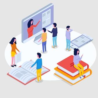 オンライン教育等尺性概念、トレーニングコース。 3 dの等尺性の人々。ベクトルイラスト。