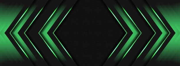 緑色の光3 d矢印方向暗い灰色金属空白スペースの背景