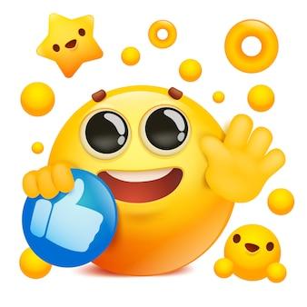 ソーシャルネットワークのアイコンを保持している黄色の絵文字3 d笑顔顔漫画のキャラクター
