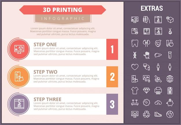 3 d印刷インフォグラフィックテンプレートと要素