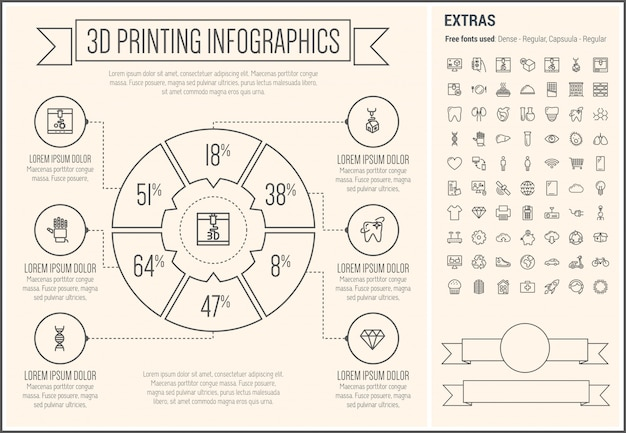 3 d印刷ラインデザインインフォグラフィックテンプレート
