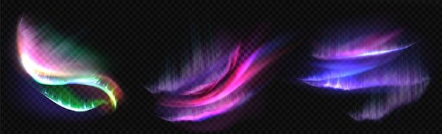 北極のオーロラ、極光、分離された北の自然現象。夜空に輝く虹色に輝く波状イルミネーション。現実的な3 dベクトルイラストセット