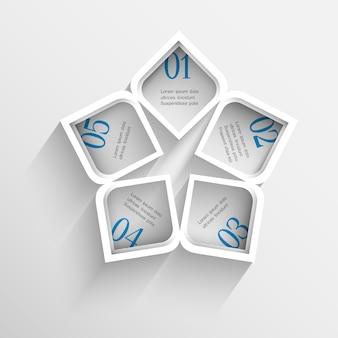 インフォグラフィックの3 dモダンな白いテンプレート