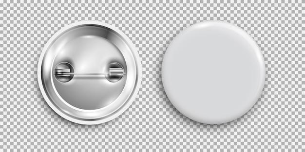 空白のバッジ、3 dの白い丸いボタン、分離されたピンボタン