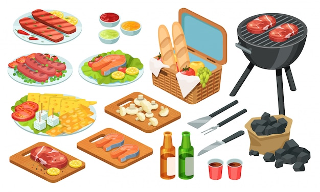等尺性バーベキュー料理、バーベキューグリル肉、イラストセット、牛肉のグリル、ピクニックパーティー、白で隔離される3 dアイコンの魚ステーキ