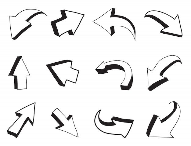 3 dの手描きの矢印
