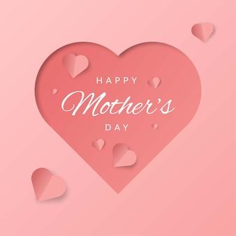 ピンクの背景に3 dハートの形で幸せな母の日の背景