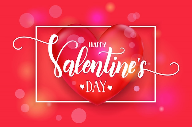 3 d赤いハートとフレームとバレンタインデーの背景。
