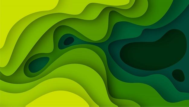 グリーンペーパーと3 dの抽象的な背景カット図形