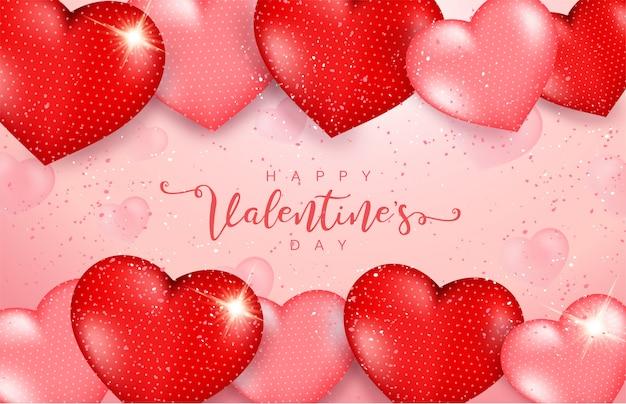 3 dの心とピンクのバレンタインデーの背景