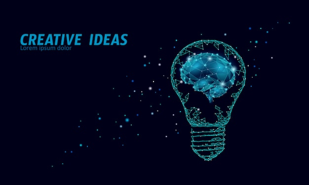 創造的なアイデアの電球の夜の星の空。低ポリポリゴンビジネスブレインストーミングスタートアップダークブルースペースモダンな幾何学的な3 dランプ。発明脳形インスピレーションイラスト