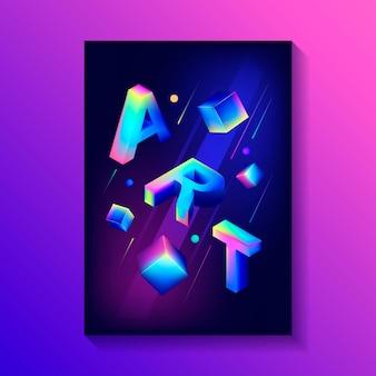 3 dキューブと他の数字の組成を持つ創造的な装飾的なポスター。