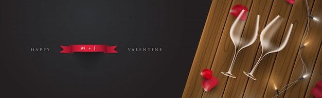 3 dのロマンチックな夜のバレンタインバナーカードイラスト