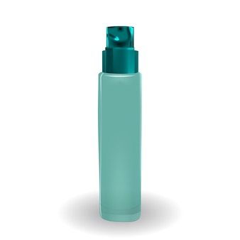 広告や雑誌の背景の化粧品製品テンプレートをデザインします。 3 dの現実的なベクトル図